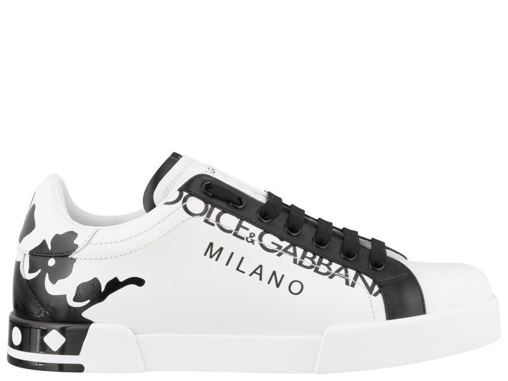 98776334f9 Lyst - Dolce & Gabbana Crown Print Portofino Sneakers for Men