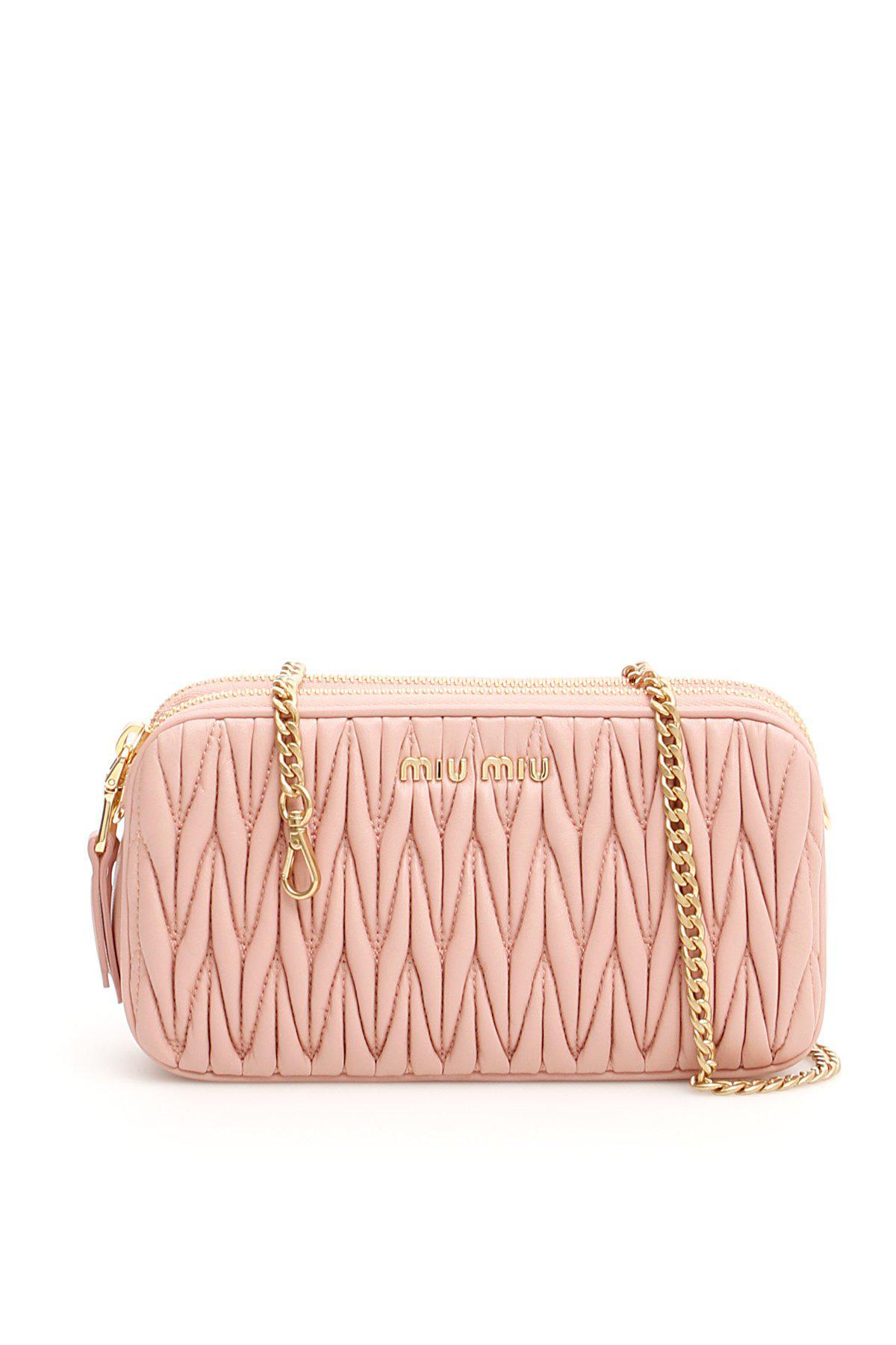 0e3c85286a60 Miu Miu - Pink Matelassé Mini Bag - Lyst. View fullscreen