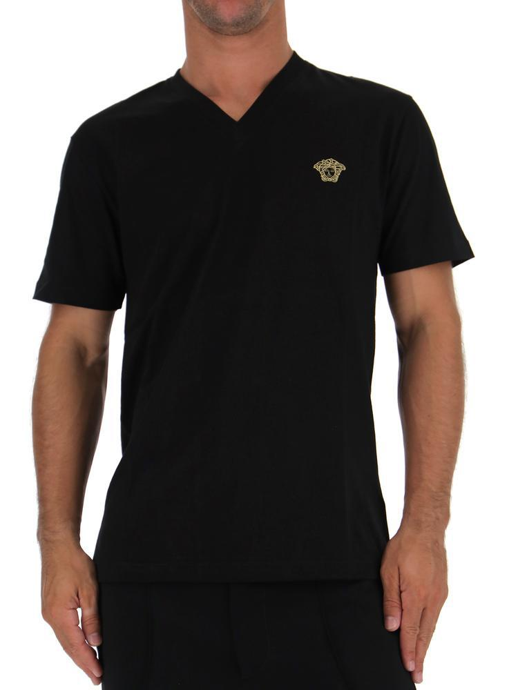 a7fe9a214 Versace Medusa V-neck T-shirt in Black - Lyst