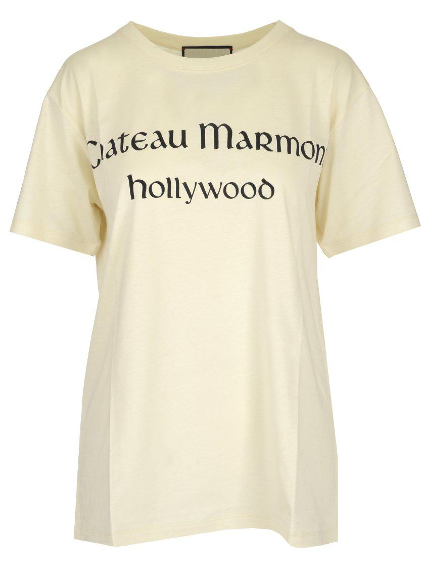 86782d3de Lyst - Gucci 'chateau Marmont' Print T-shirt in Yellow