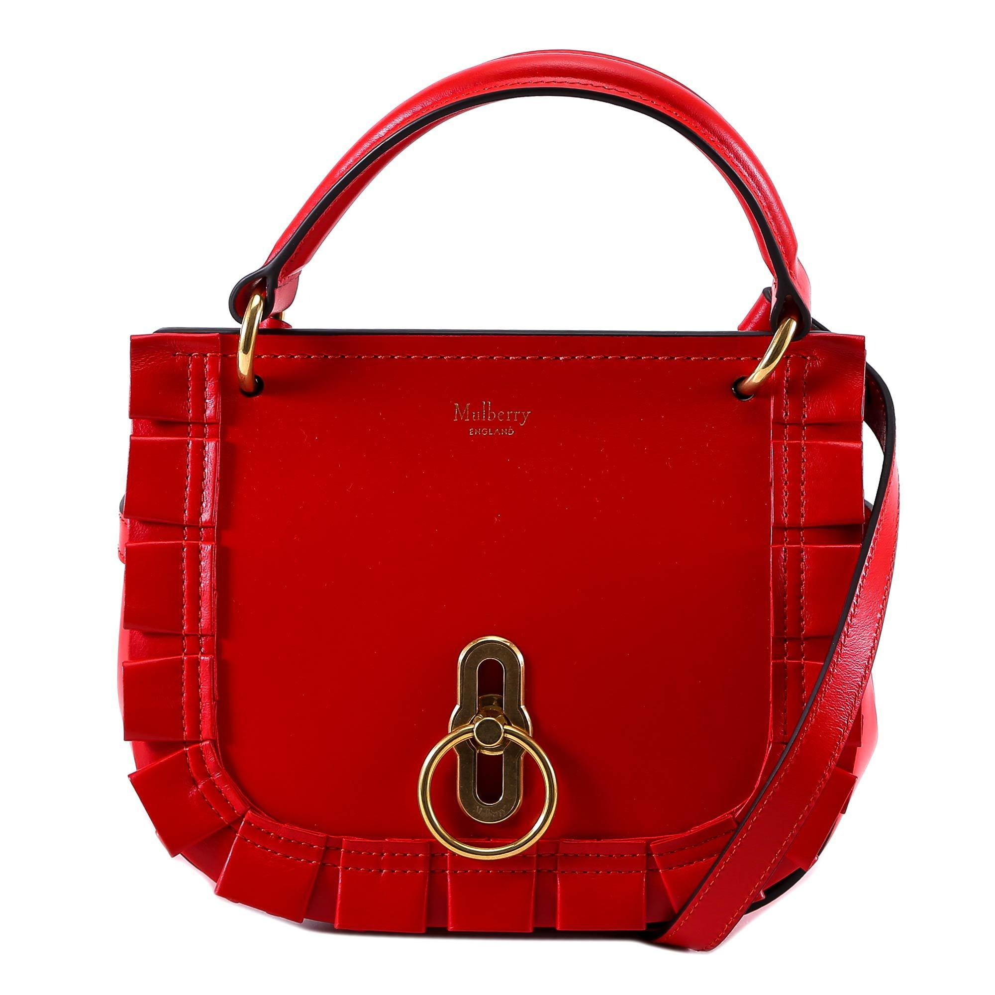 0ea3027ff46 Lyst - Mulberry Amberley Ruffled Satchel Bag in Red