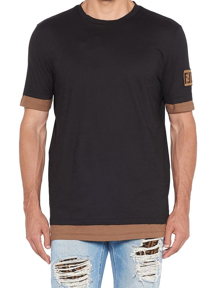 c7f46d1be Lyst - Fendi Logo Patch T-shirt in Black for Men
