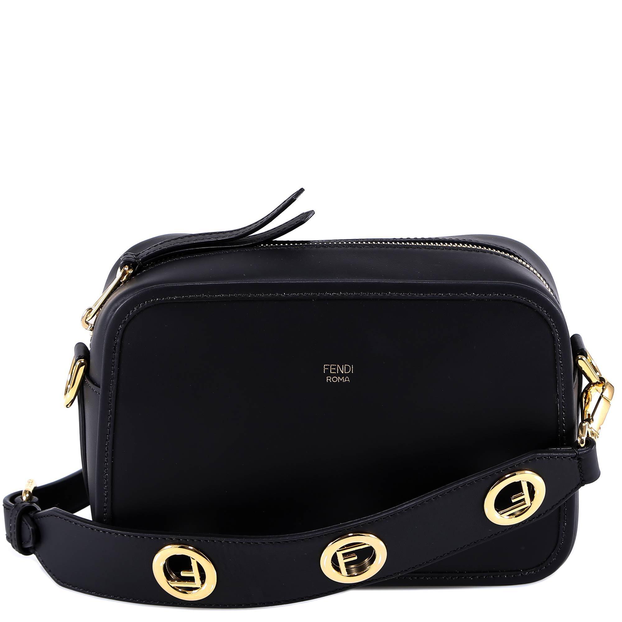 995642c7ab0 Fendi Logo Plaque Strap Crossbody Bag in Black - Lyst