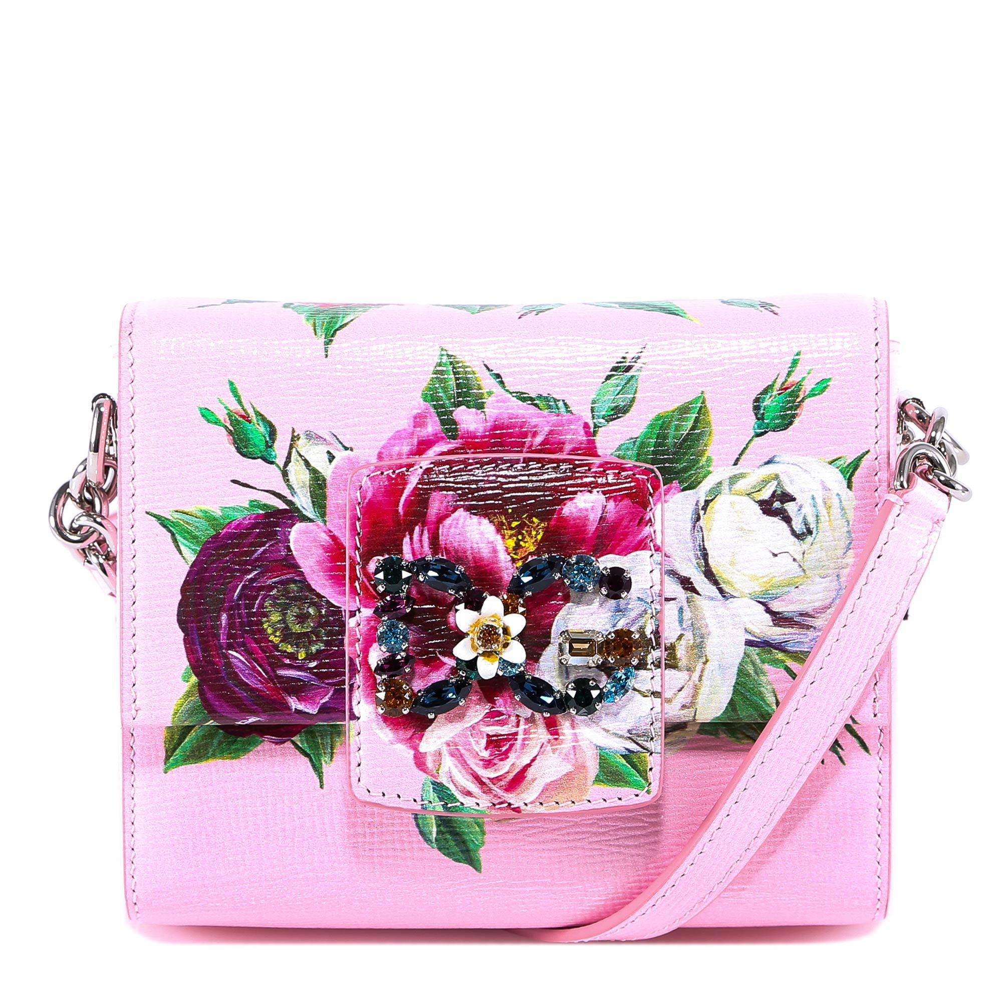 f9164a6573e0 Lyst - Dolce   Gabbana Embellished Rose Print Bag in Pink