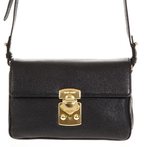 Miu Miu Logo Clasp Mini Shoulder Bag in Black - Lyst f4bf6fbc07