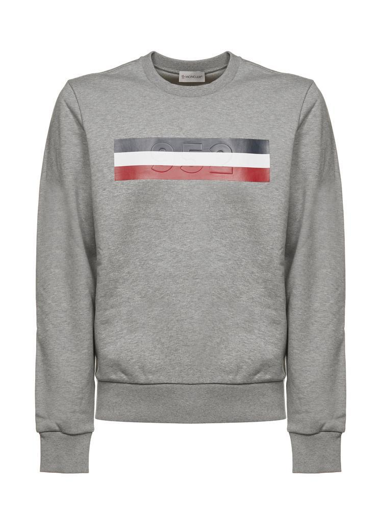 436780026 Lyst - Moncler Chest Print Jumper in Gray for Men