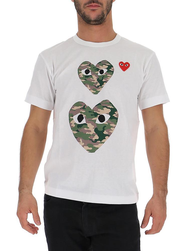 d4ce270a233d COMME DES GARÇONS PLAY Double Heart Printed T-shirt in White for Men ...