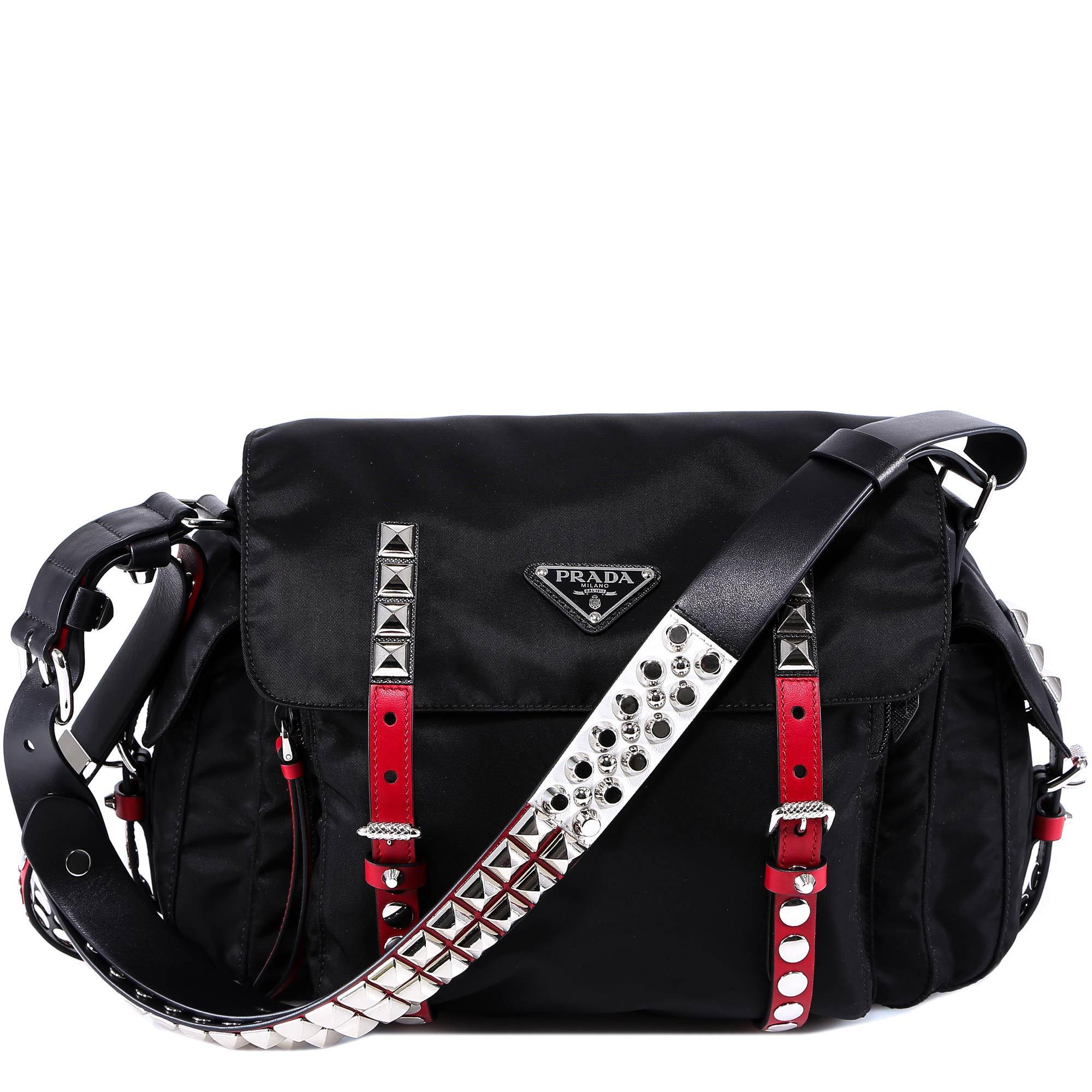 d6e6ab7e0b3c Lyst - Prada Studded Strap Shoulder Bag in Black