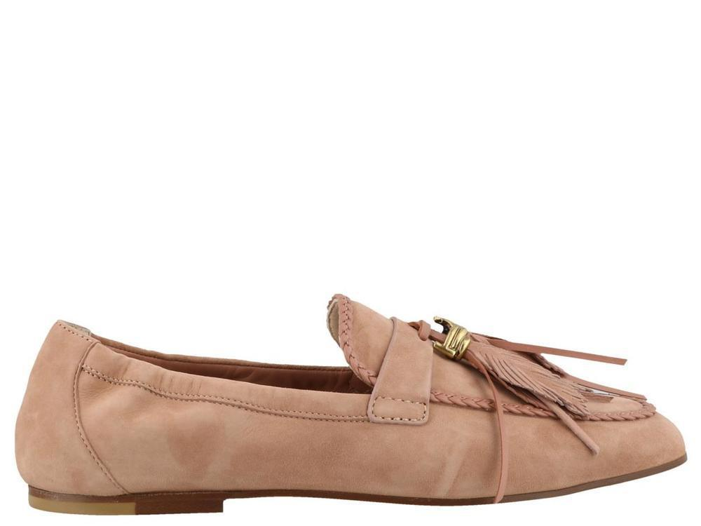 e3b1505bb24 Tod S Suede Leaf Tassel Loafers in Pink - Lyst