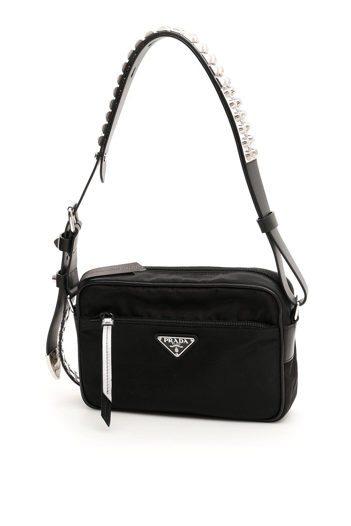 a54eea358234 Prada Studded Strap Shoulder Bag in Black - Lyst