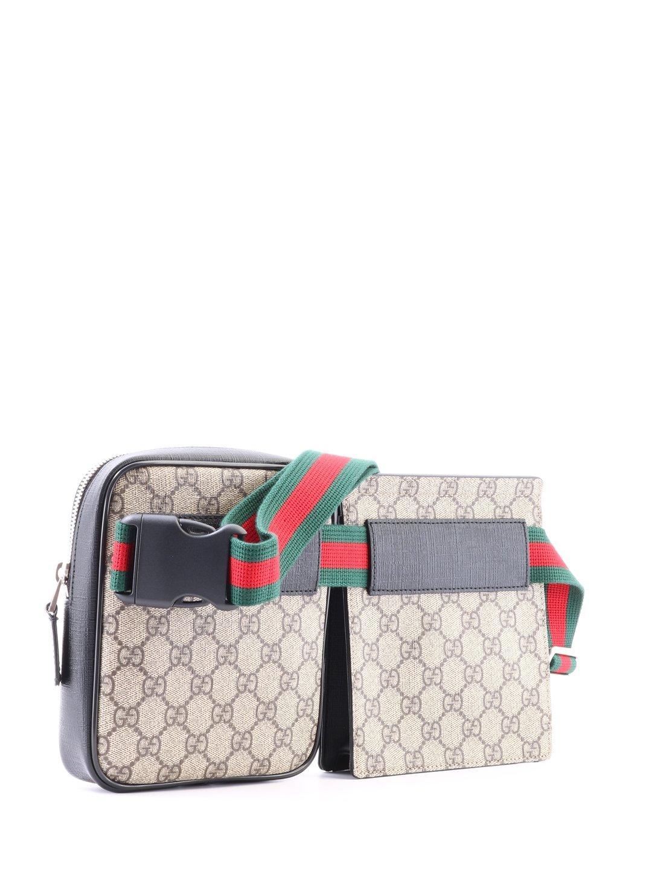 87bfc3ebf072 Gucci GG Supreme Stripe Belt Bag for Men - Lyst