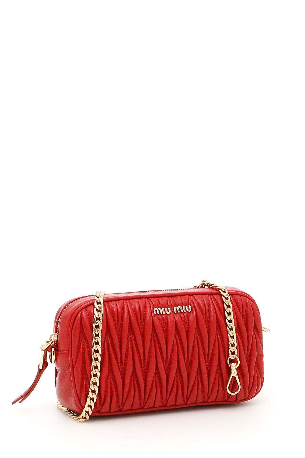 Lyst - Miu Miu Matelassé Belt Bag in Red 2435b6a377