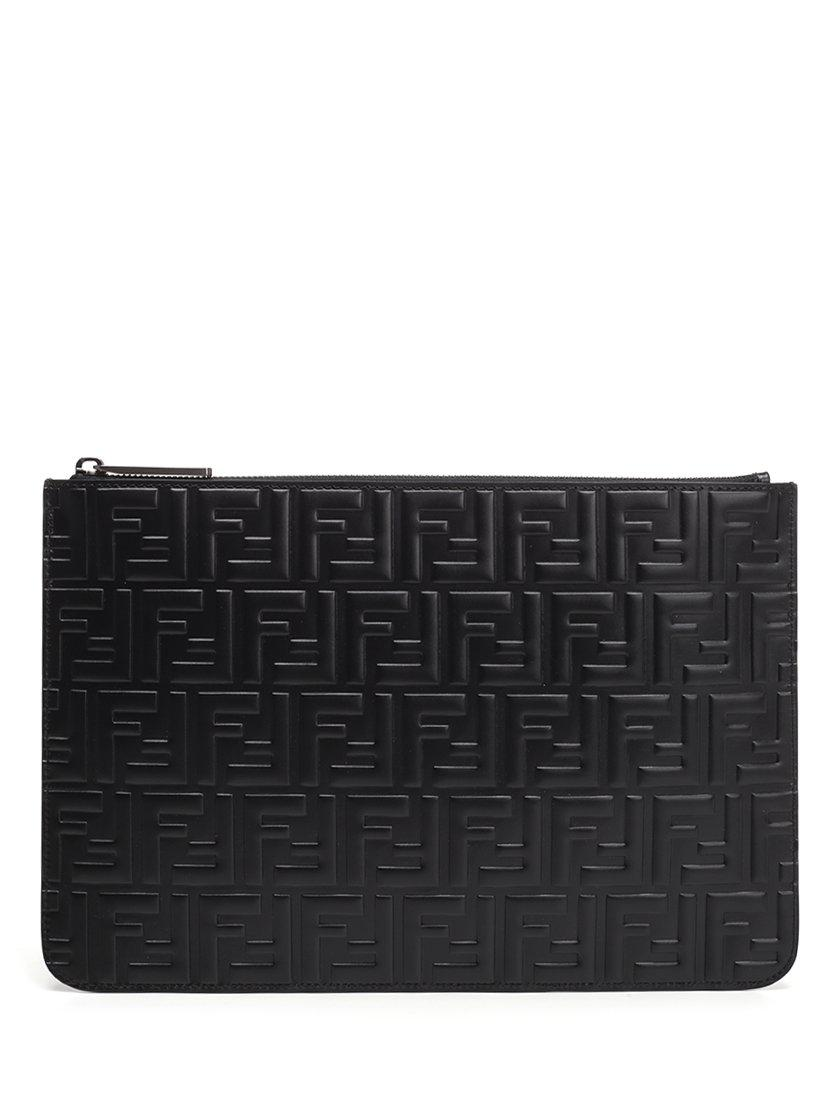 72365aaed1 Lyst - Fendi Ff Embossed Pouch in Black