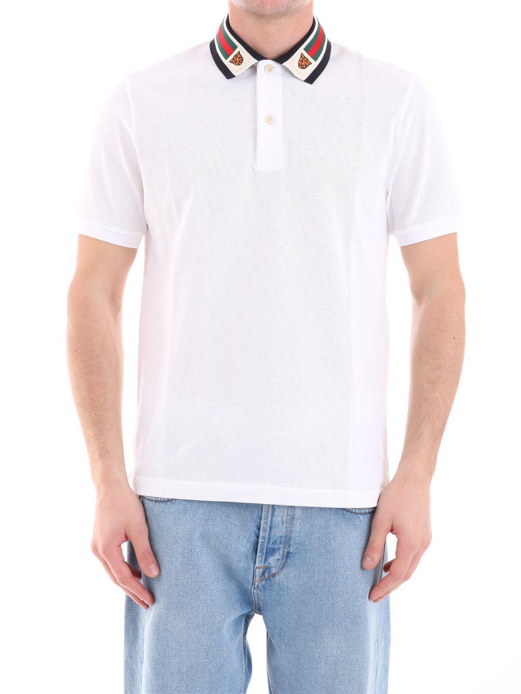 4e66df30fef Lyst - Gucci Web Collar Polo Shirt in White for Men