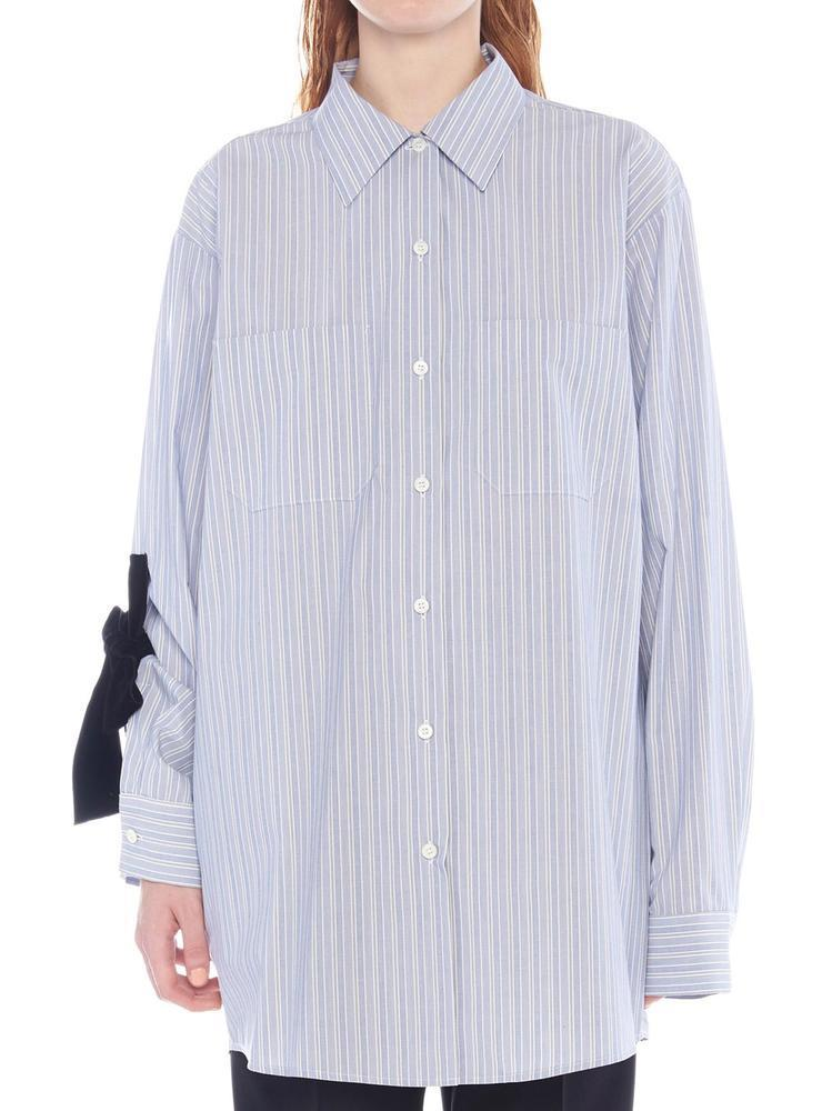 8f852c1030fa4 Lyst - Prada Striped Bow Sleeve Shirt in Blue