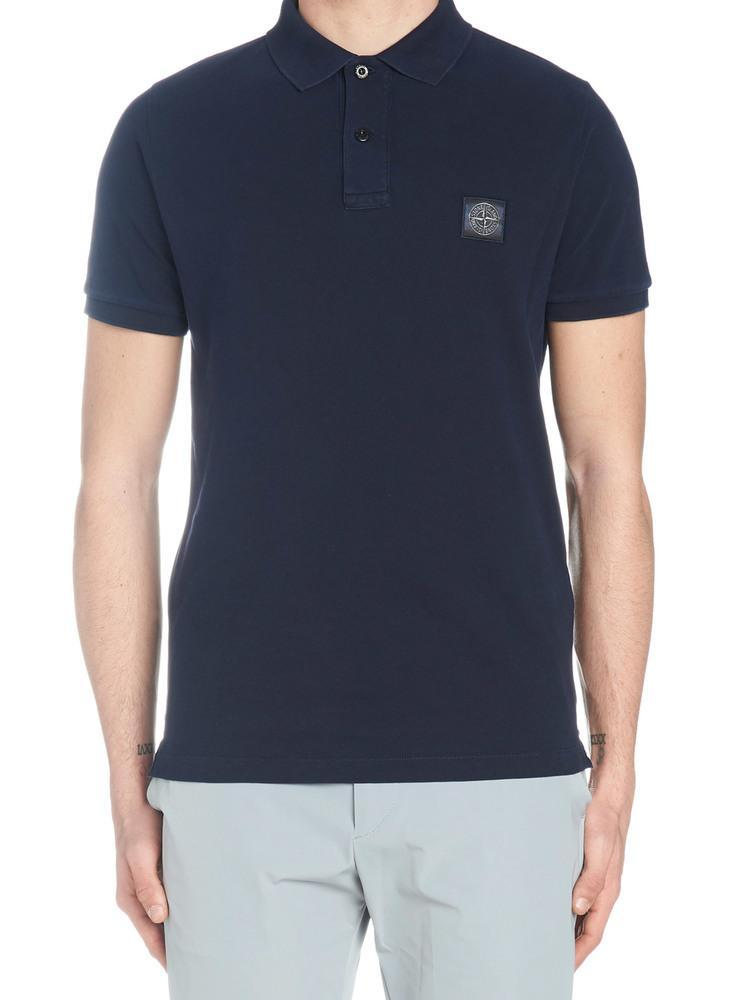 90c0d31f Stone Island Logo Polo Shirt in Blue for Men - Lyst