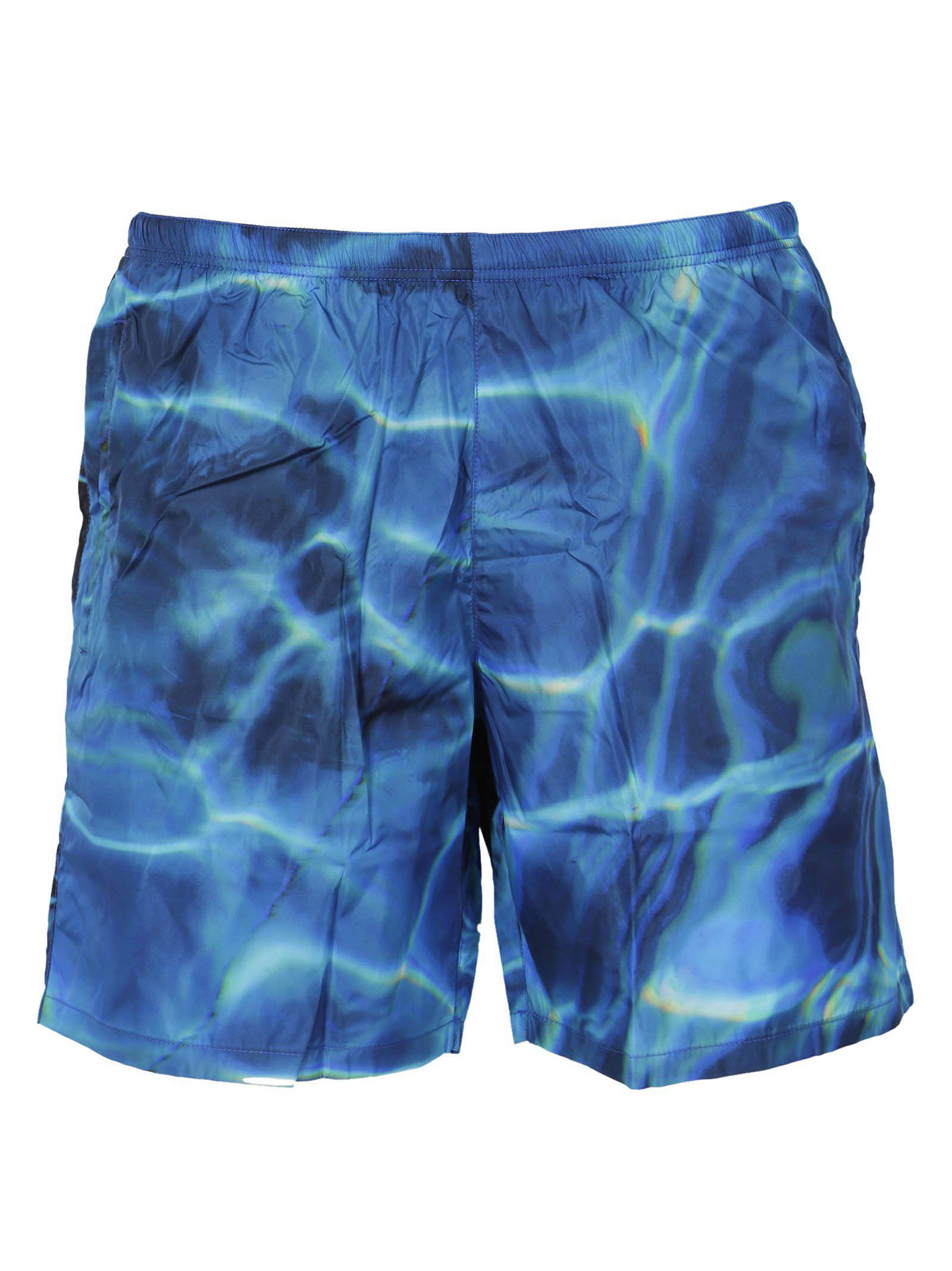 4769e972e1 Prada Printed Swim Shorts in Blue for Men - Lyst