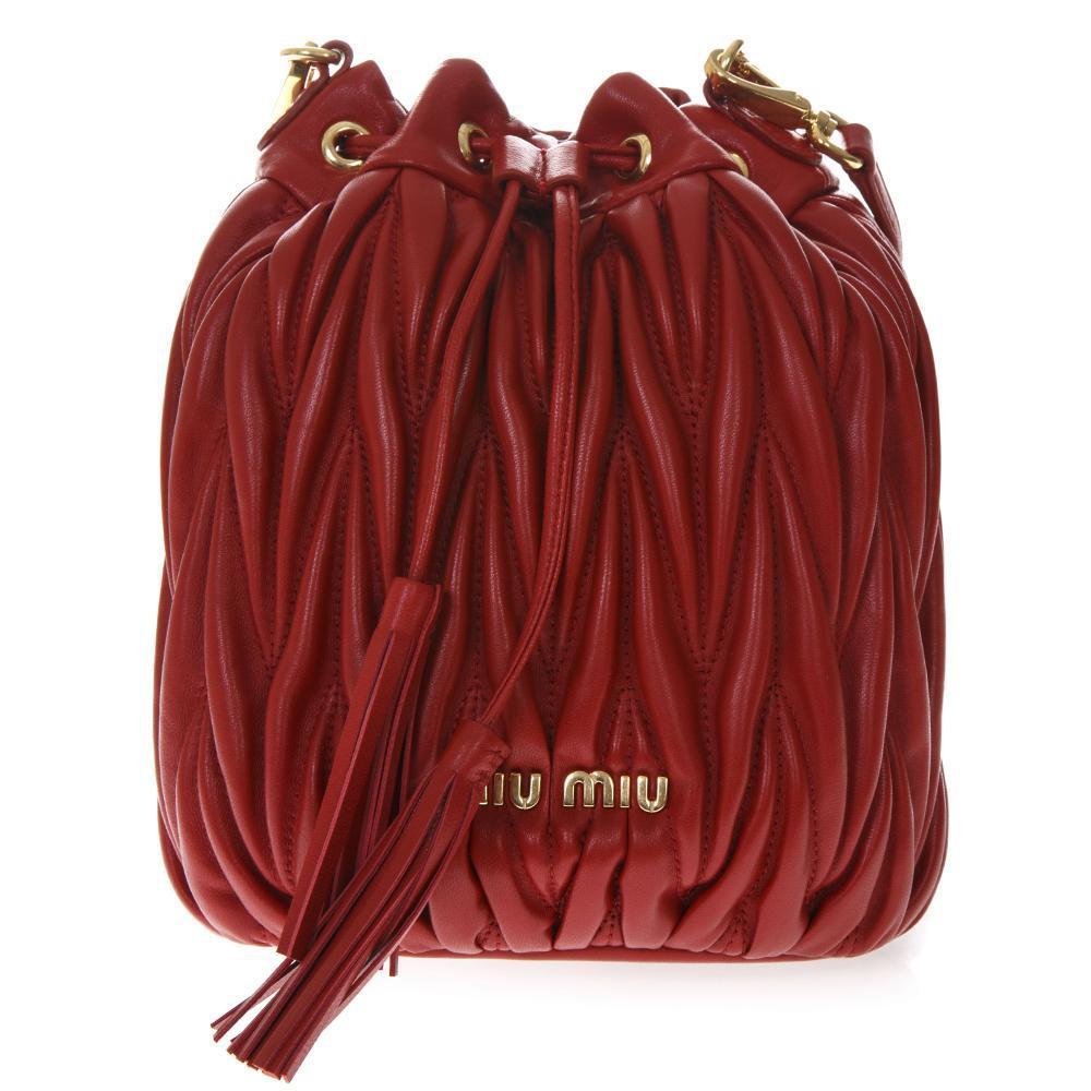 Lyst - Miu Miu Textured Drawstring Bucket Bag in Red 915f62361c