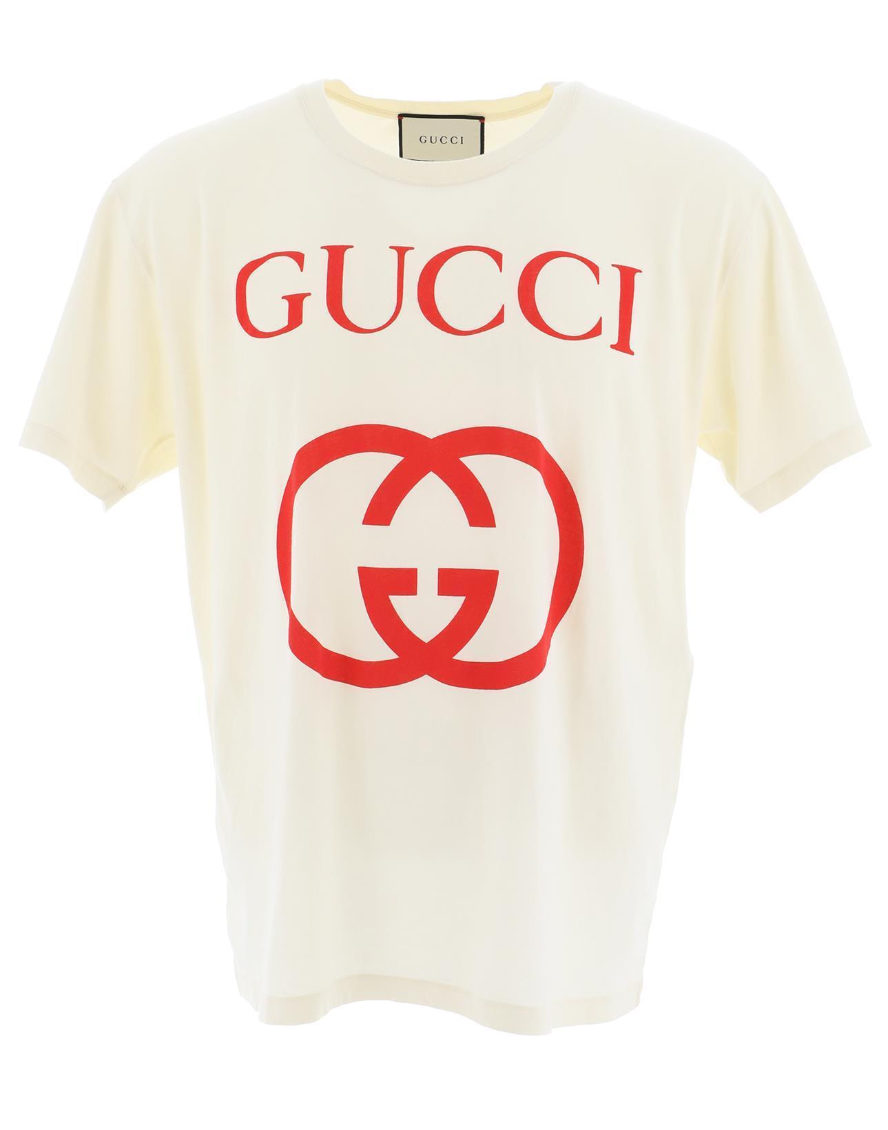 2d678fdb2 Gucci - White Logo Print T-shirt - Lyst. View fullscreen