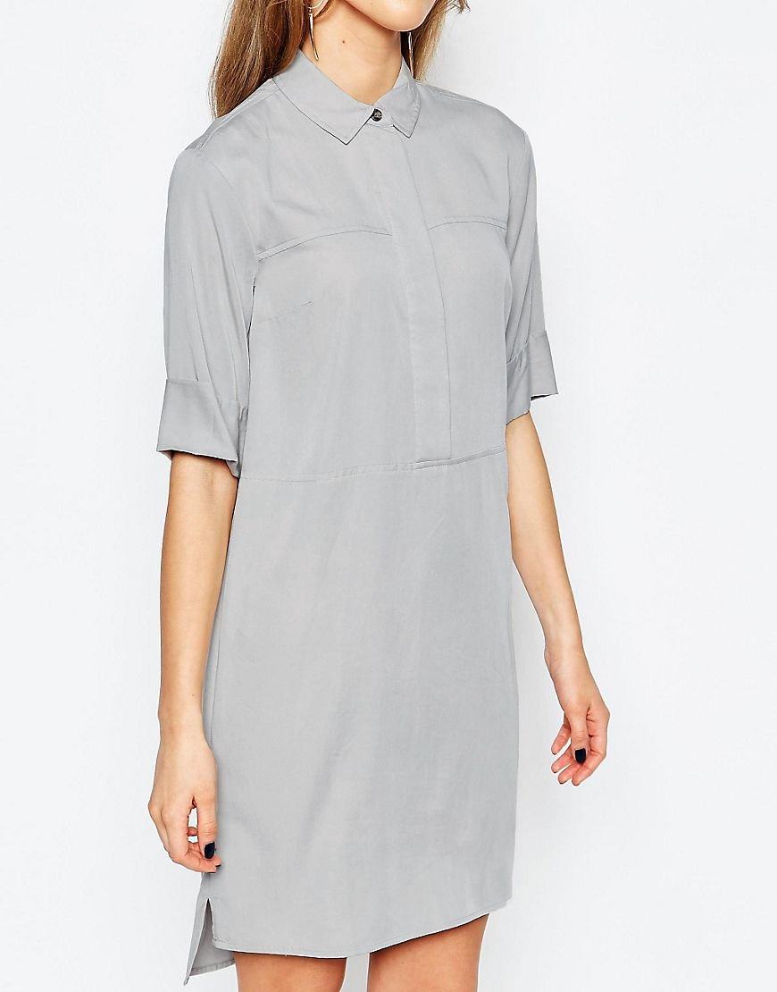 Warehouse Casual Shirt Dress in Gray - Lyst