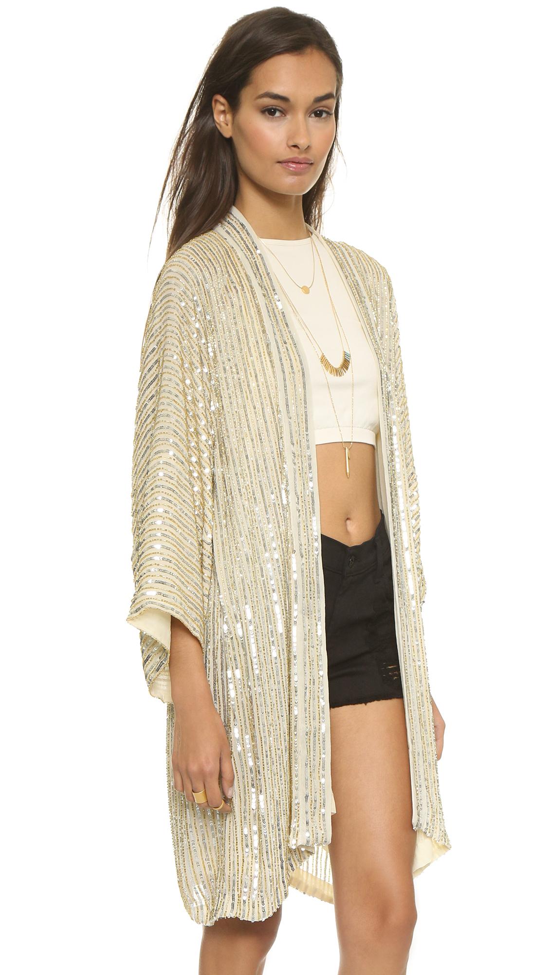 Ganni Summer Sequins Kimono - Gold/Silver in Metallic | Lyst