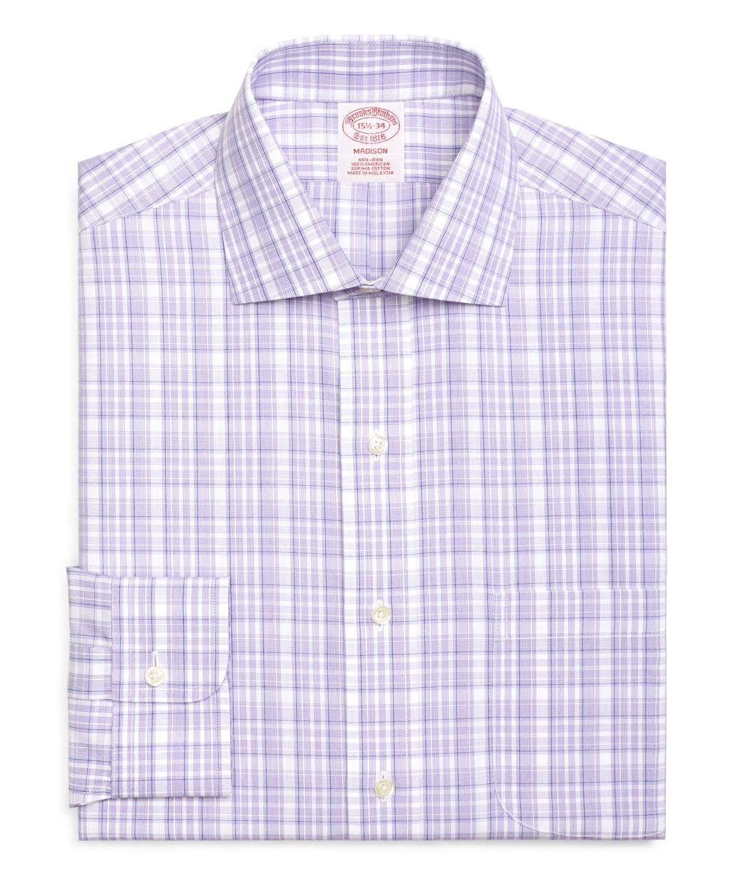 Brooks brothers non iron madison fit sidewheeler check for Brooks brothers dress shirt fit guide