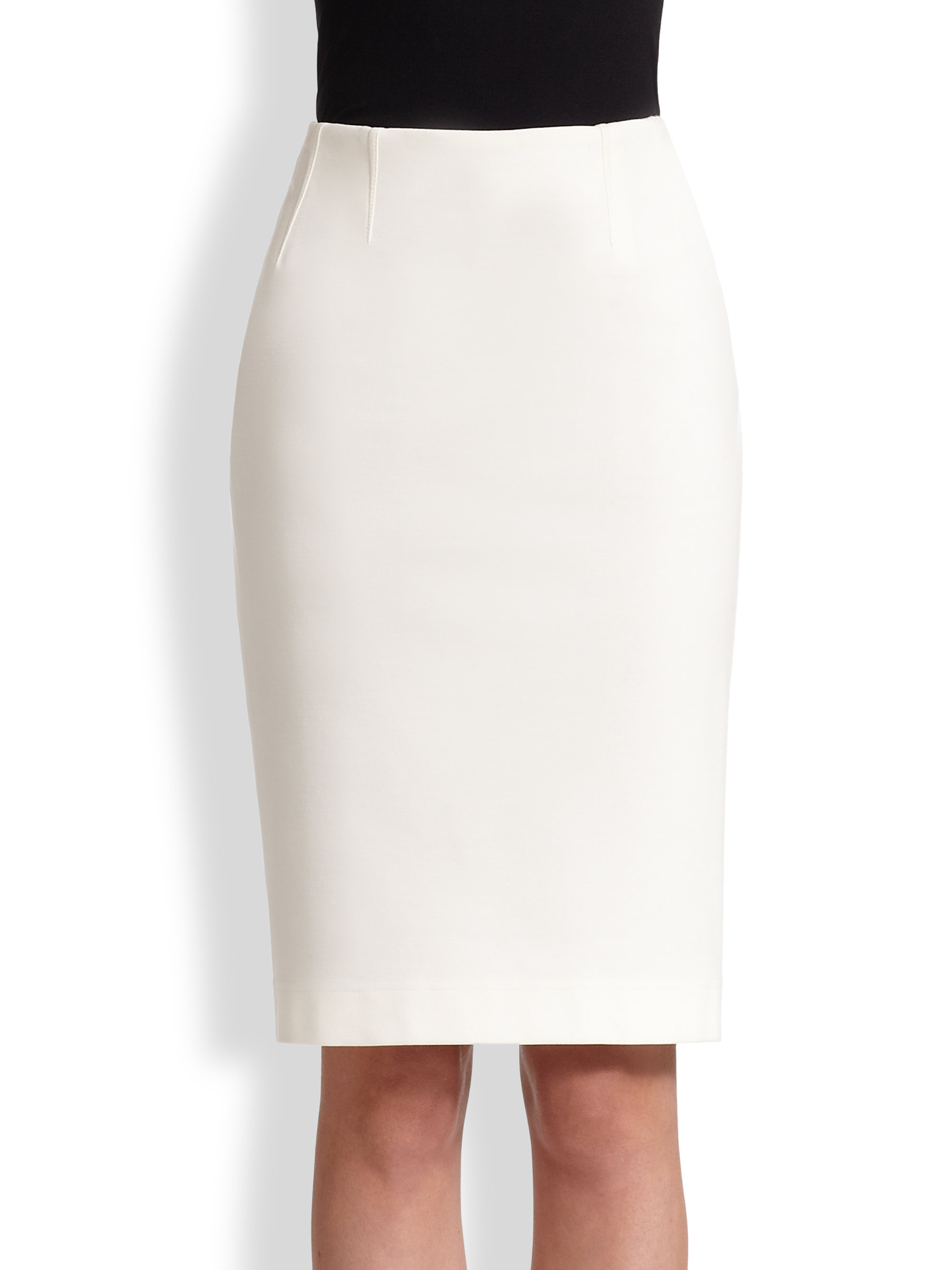 akris punto stretch jersey pencil skirt in white