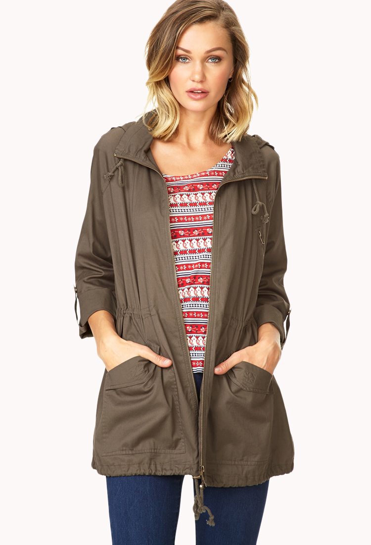 Utility Jacket Jackets And Nike: Forever 21 Favorite Hooded Utility Jacket In Green (Olive