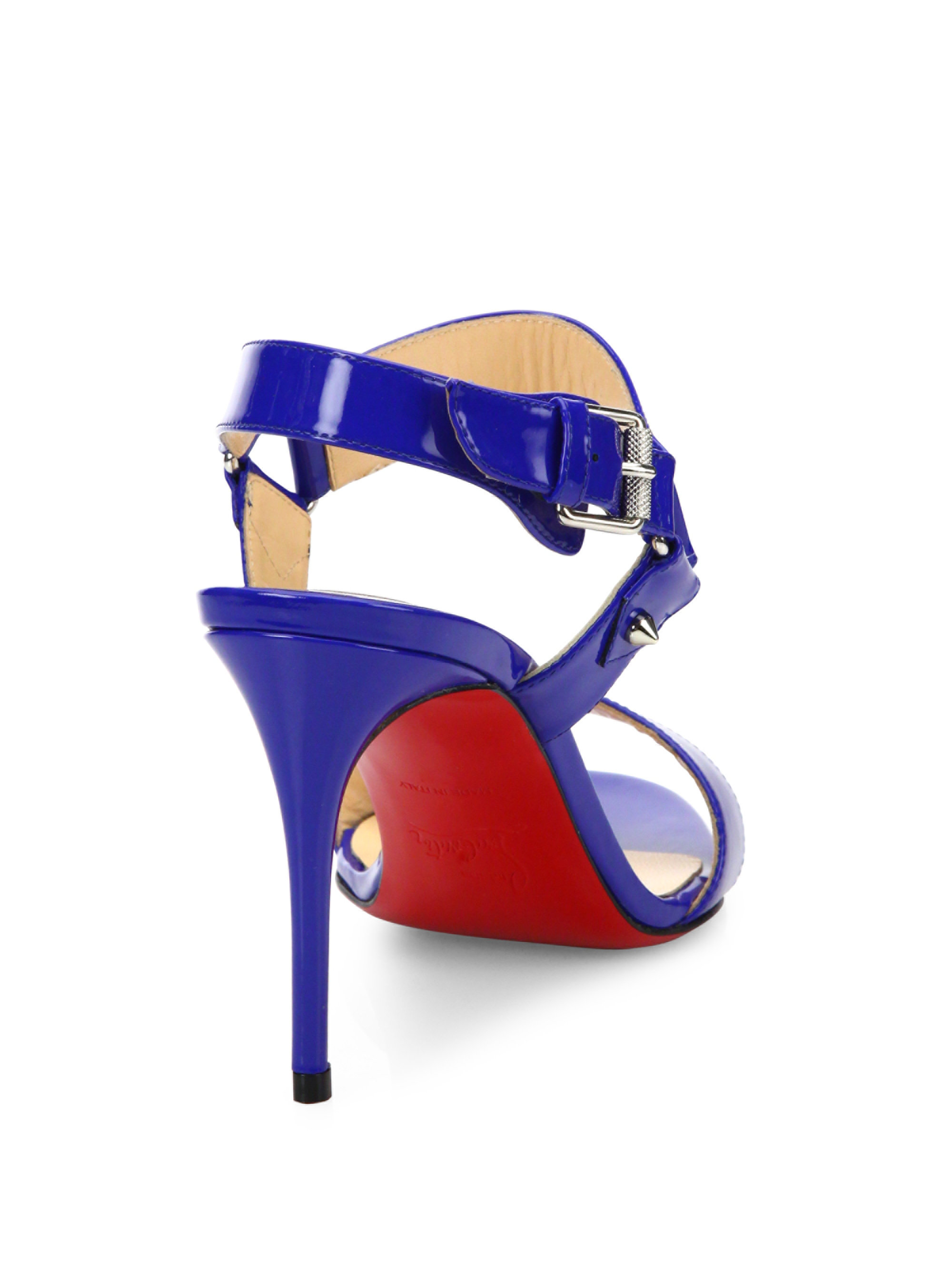 fake christian louboutin - Christian louboutin Sova Patent Leather Sandals in Blue (electric ...