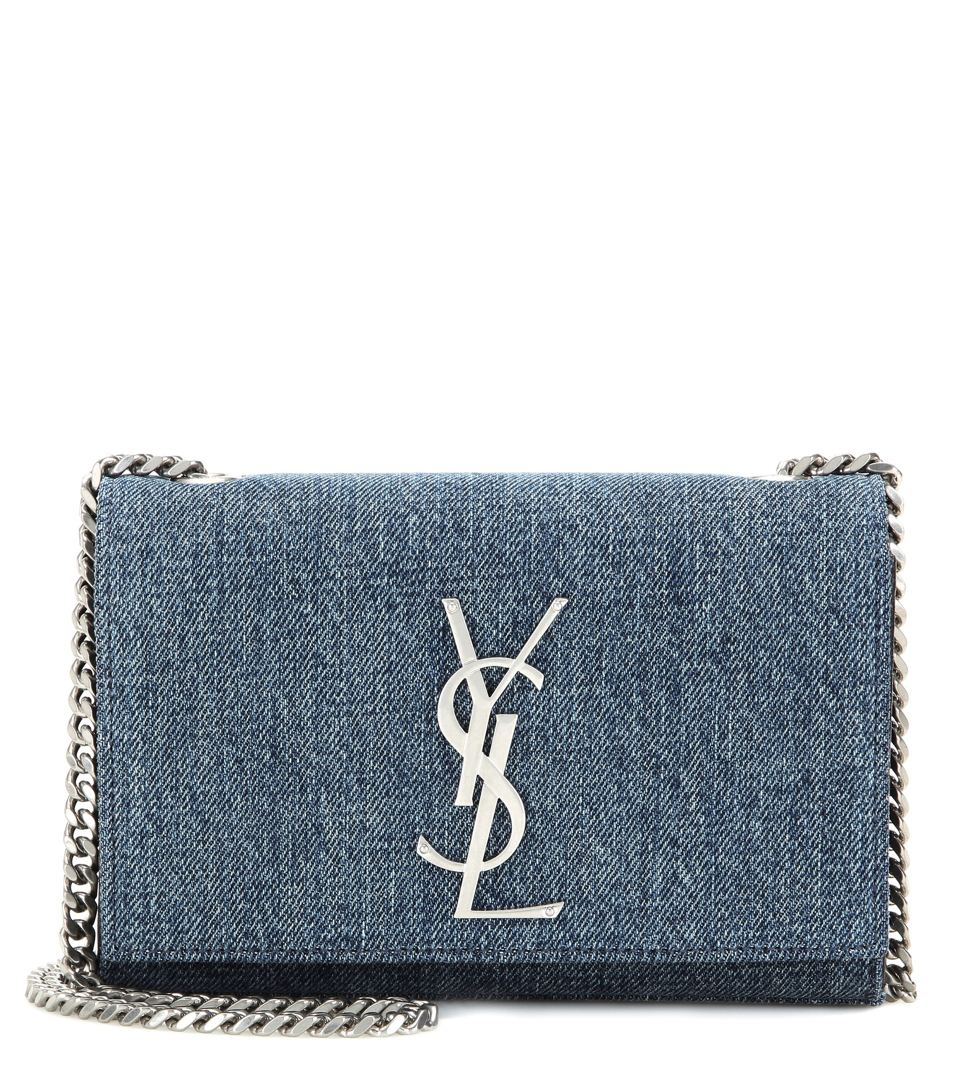 677cb1ebc2 Lyst - Saint Laurent Classic Monogram Denim Shoulder Bag .