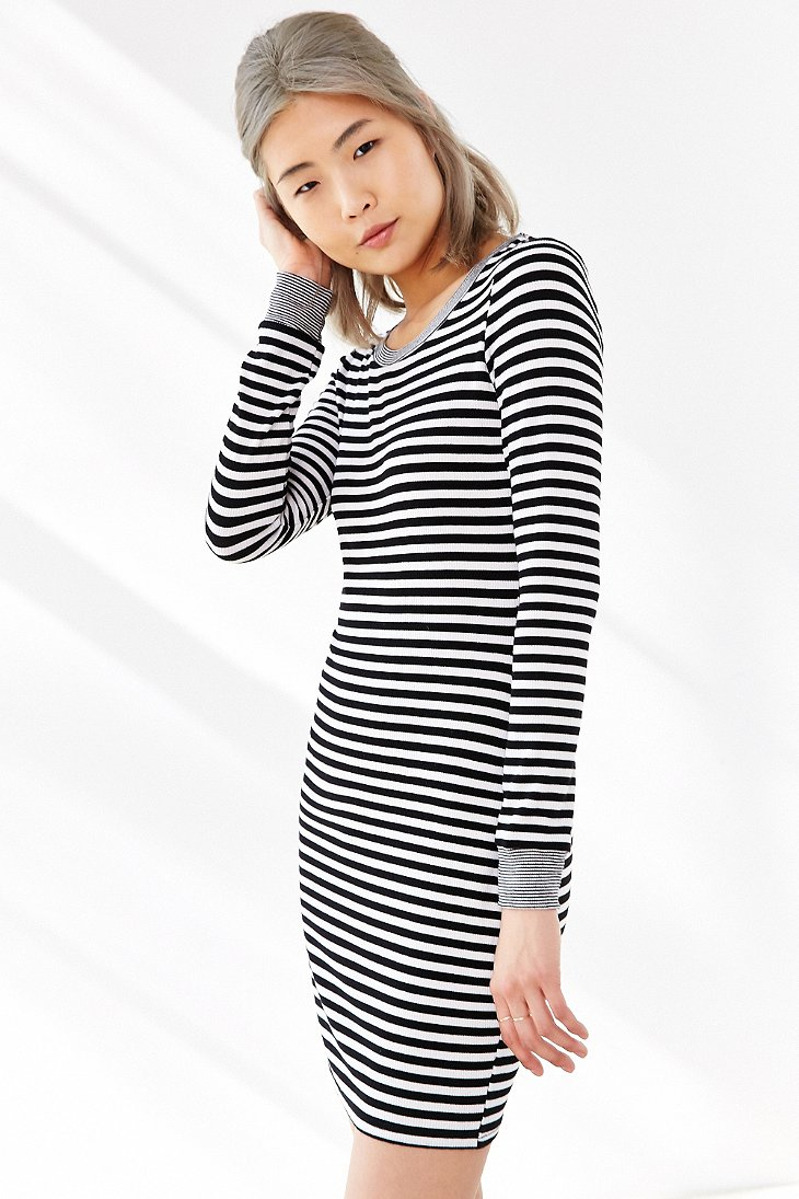 8b80a2b8c3fe Silence + Noise Striped Long-sleeve Bodycon Dress in White - Lyst