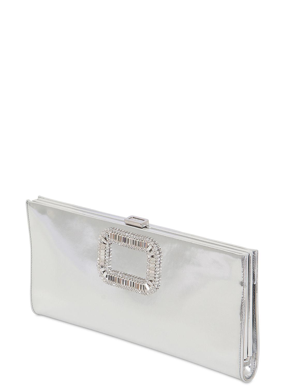 Roger Vivier Pilgrim Swarovski Mirror Leather Clutch in Metallic - Lyst dde57a7126