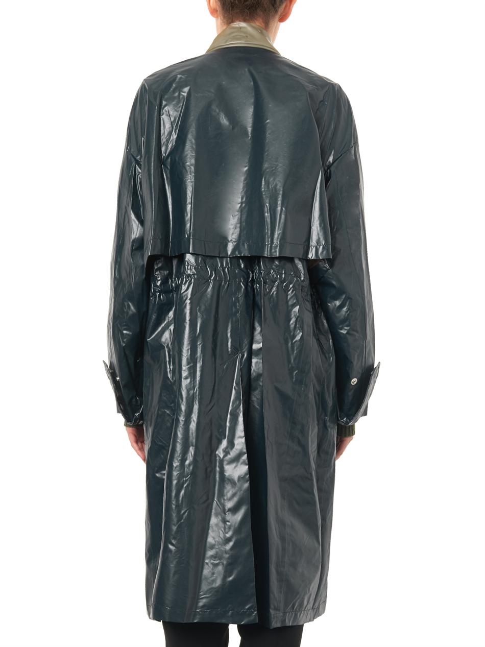 Lyst Toga Latex And Laminated Nylon Trench Coat In Green