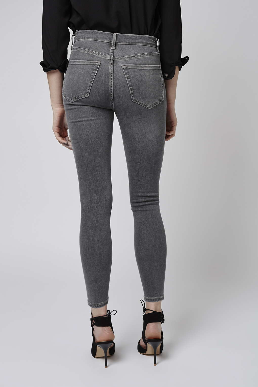 topshop petite grey jamie jeans in gray grey lyst. Black Bedroom Furniture Sets. Home Design Ideas