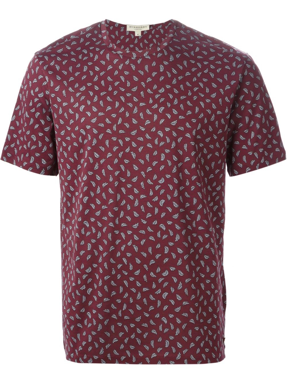 Burberry all over leaf print t shirt in red for men lyst for All over printing t shirts