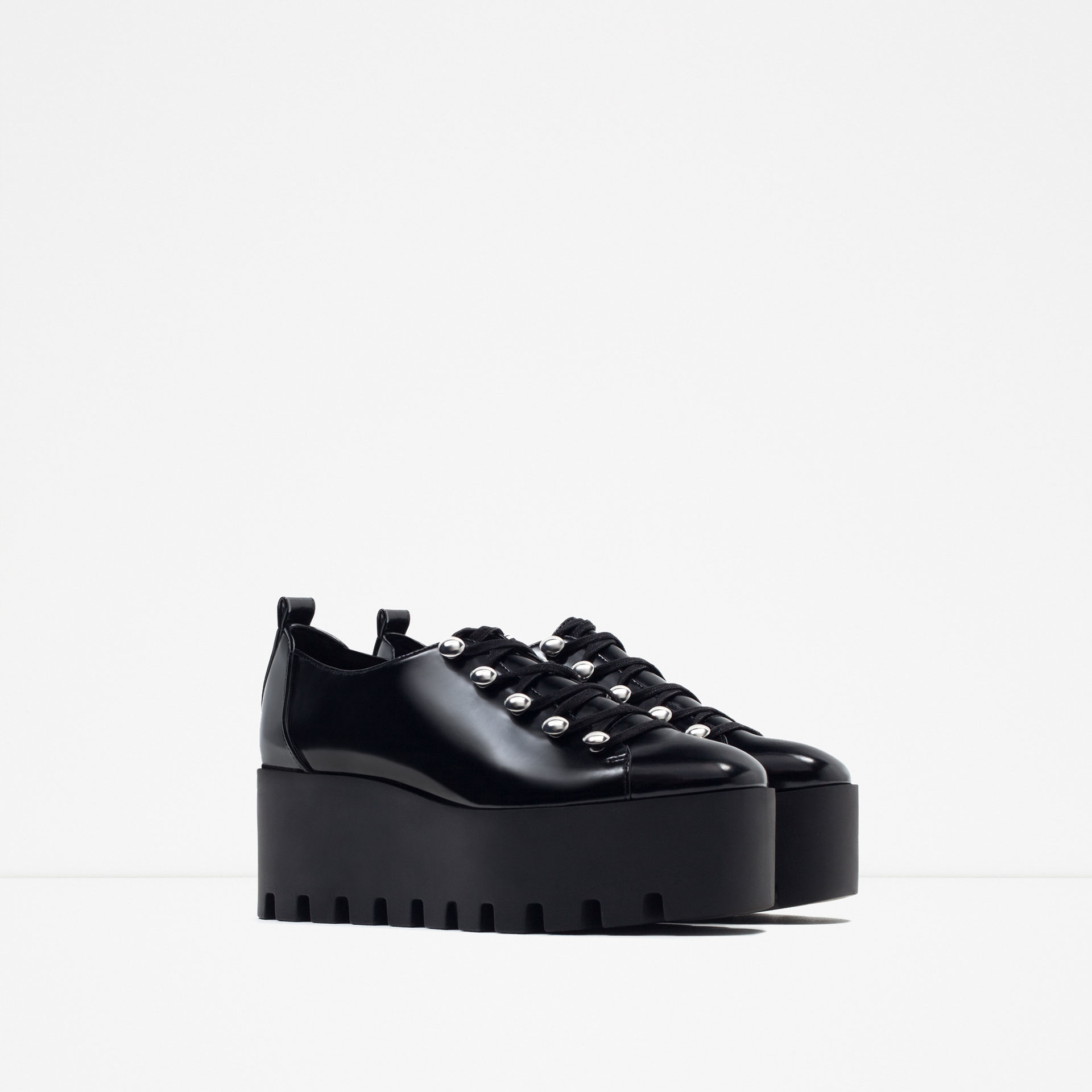 Zara Flat Platform Shoes in Black | Lyst