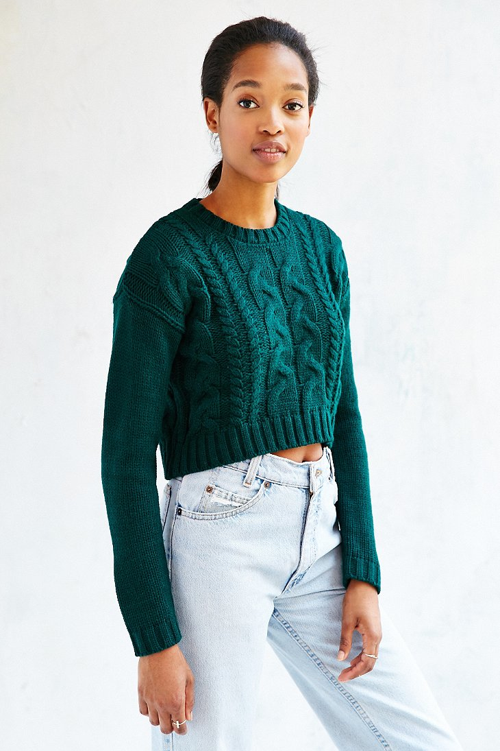 Lyst Lucca Couture Cropped Sweater In Green