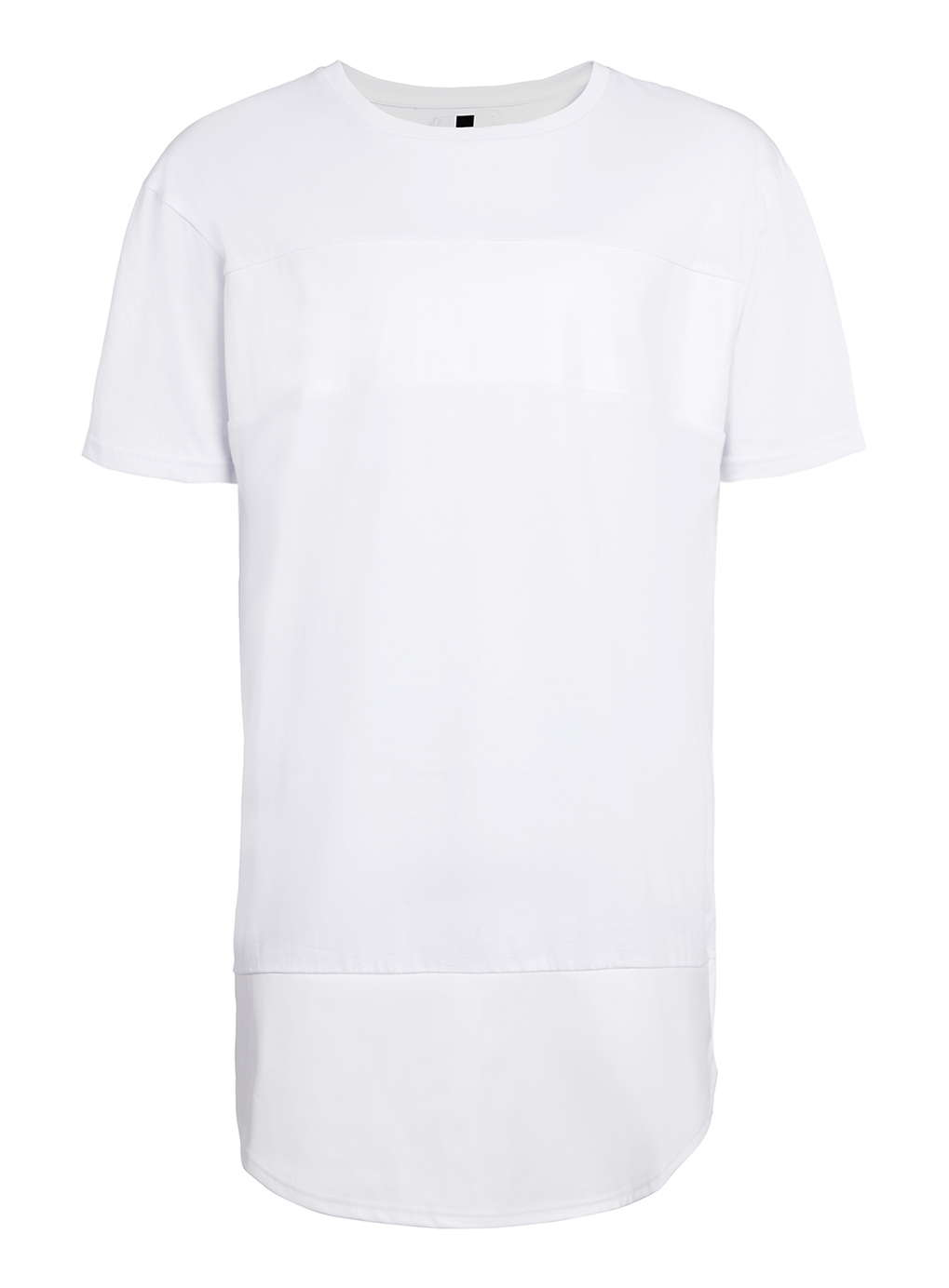 Lac white leather look panel oversized t shirt for men for Mens white leather shirt