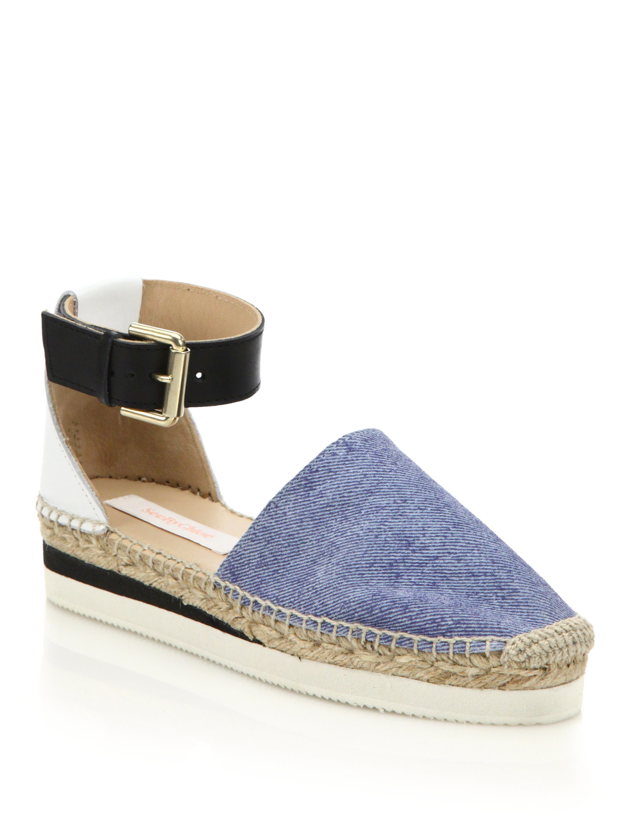 ca2b80be6f1d Lyst - See By Chloé Glyn Chambray Ankle-strap Platform Espadrilles ...
