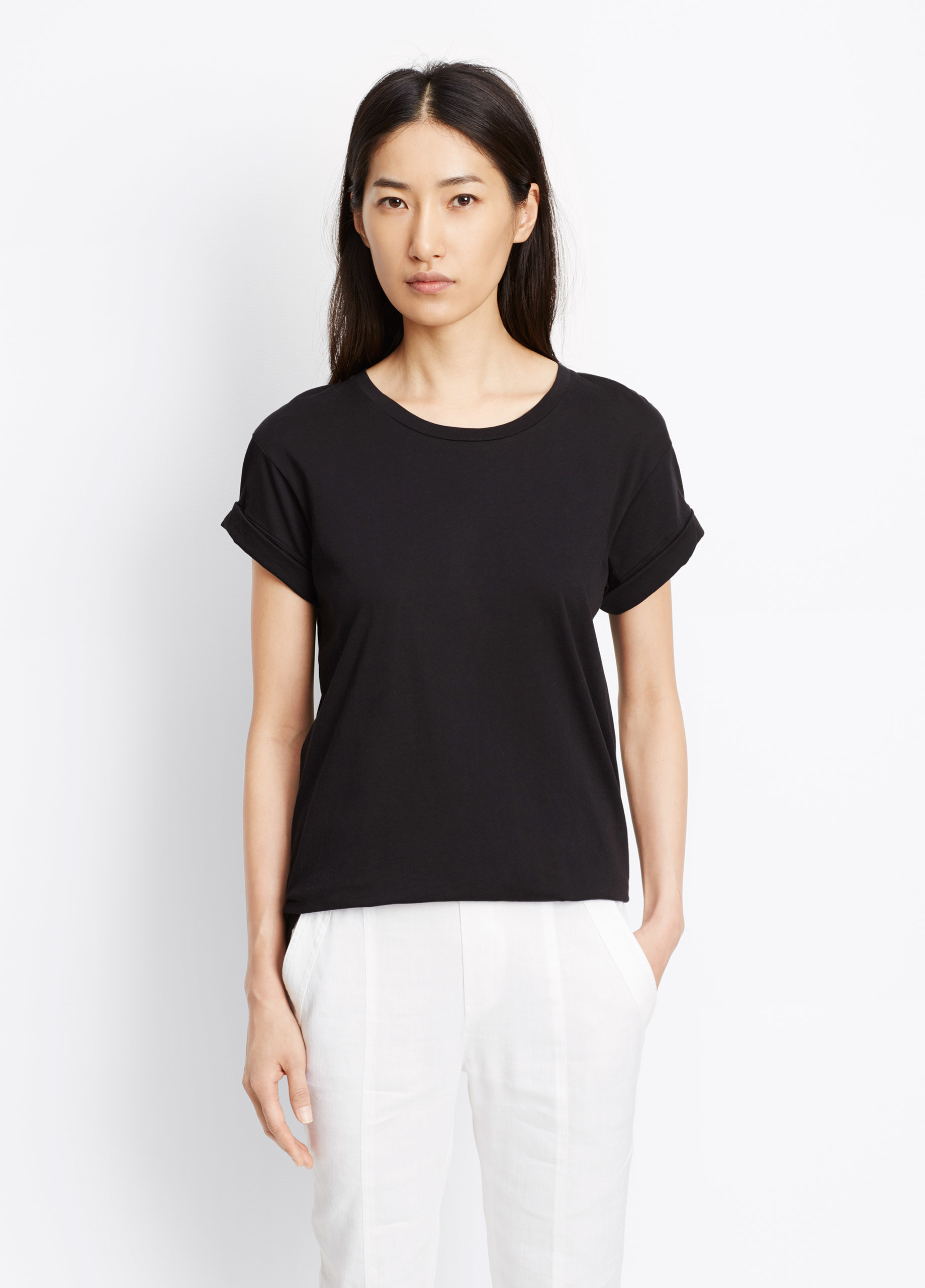 Lyst vince pima cotton rolled sleeve tee in black for Vince tee shirts sale