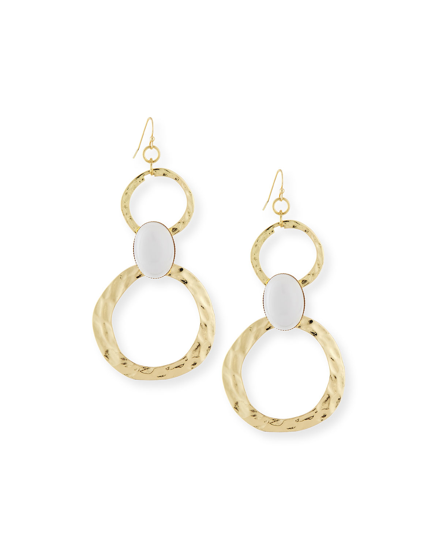 r j graziano cabochon circle link drop earrings in