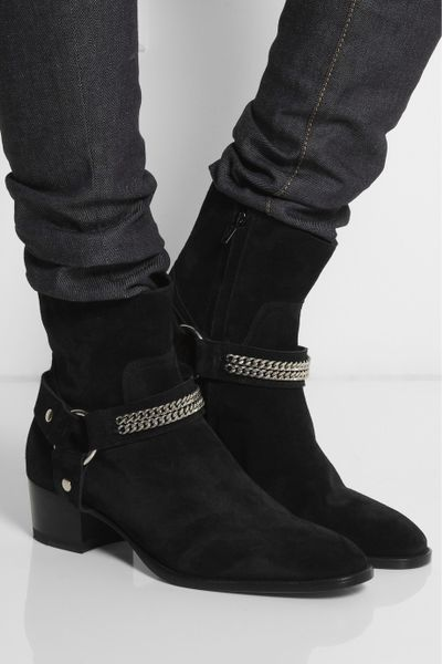 Saint Laurent Chain Trimmed Suede Ankle Boots In Black Lyst