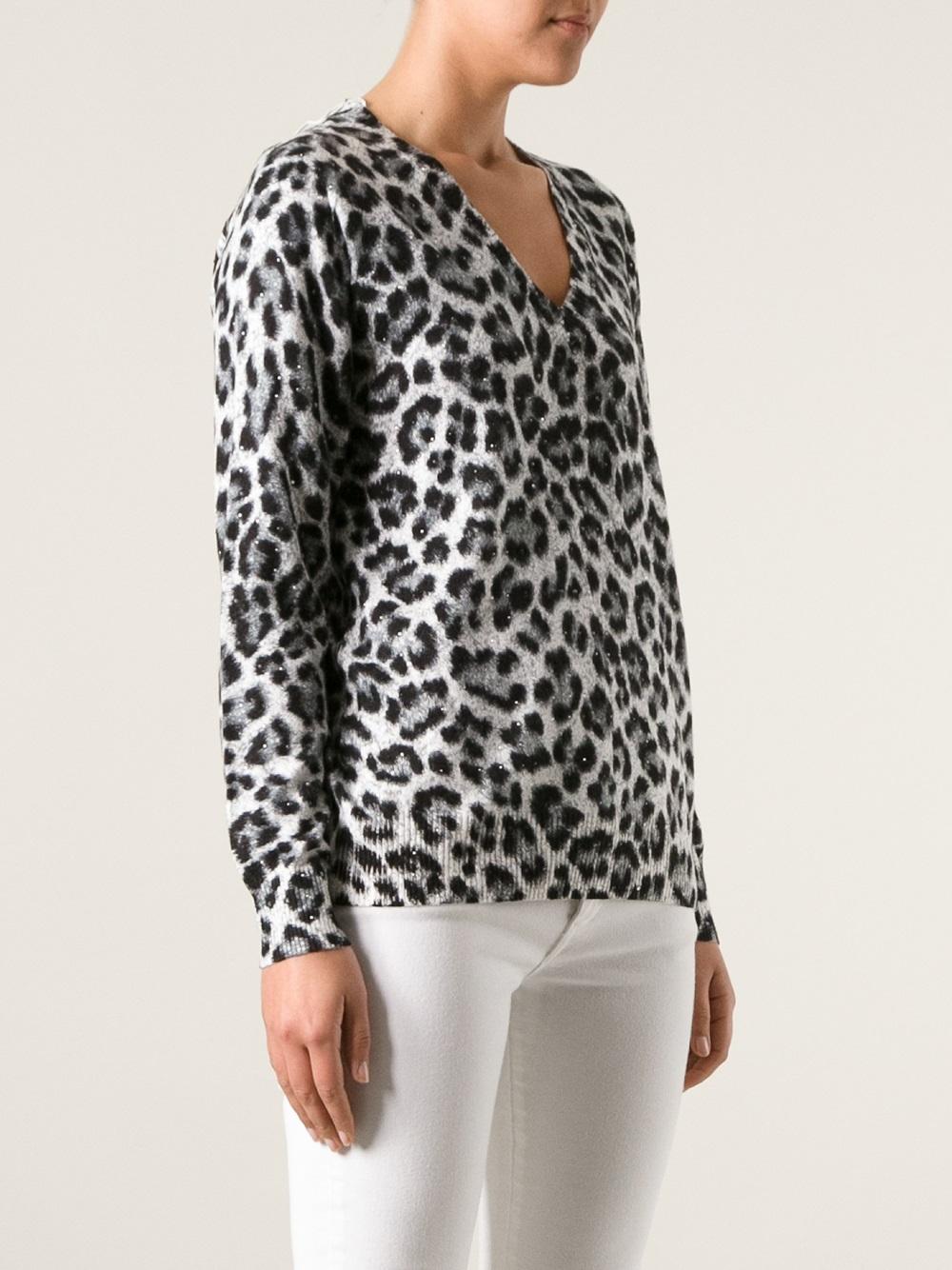 Michael Michael Kors Leopard Print Sweater In Black Lyst