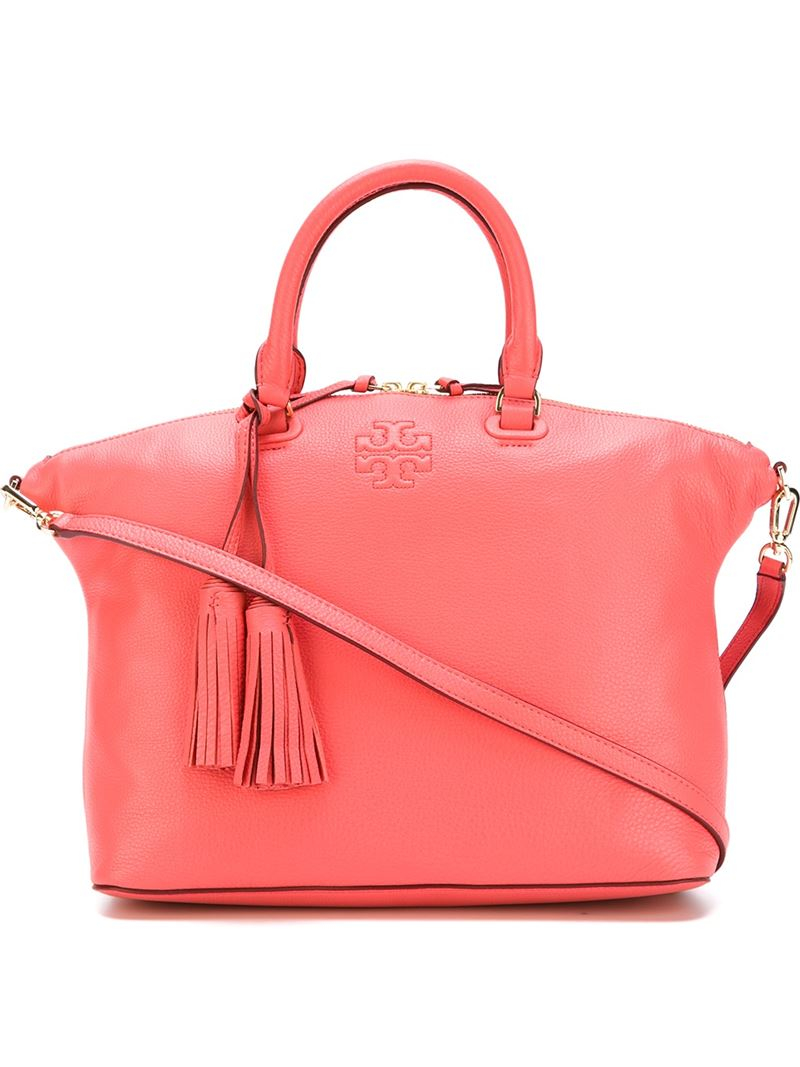 Lyst Tory Burch Rounded Handle Tote In Orange