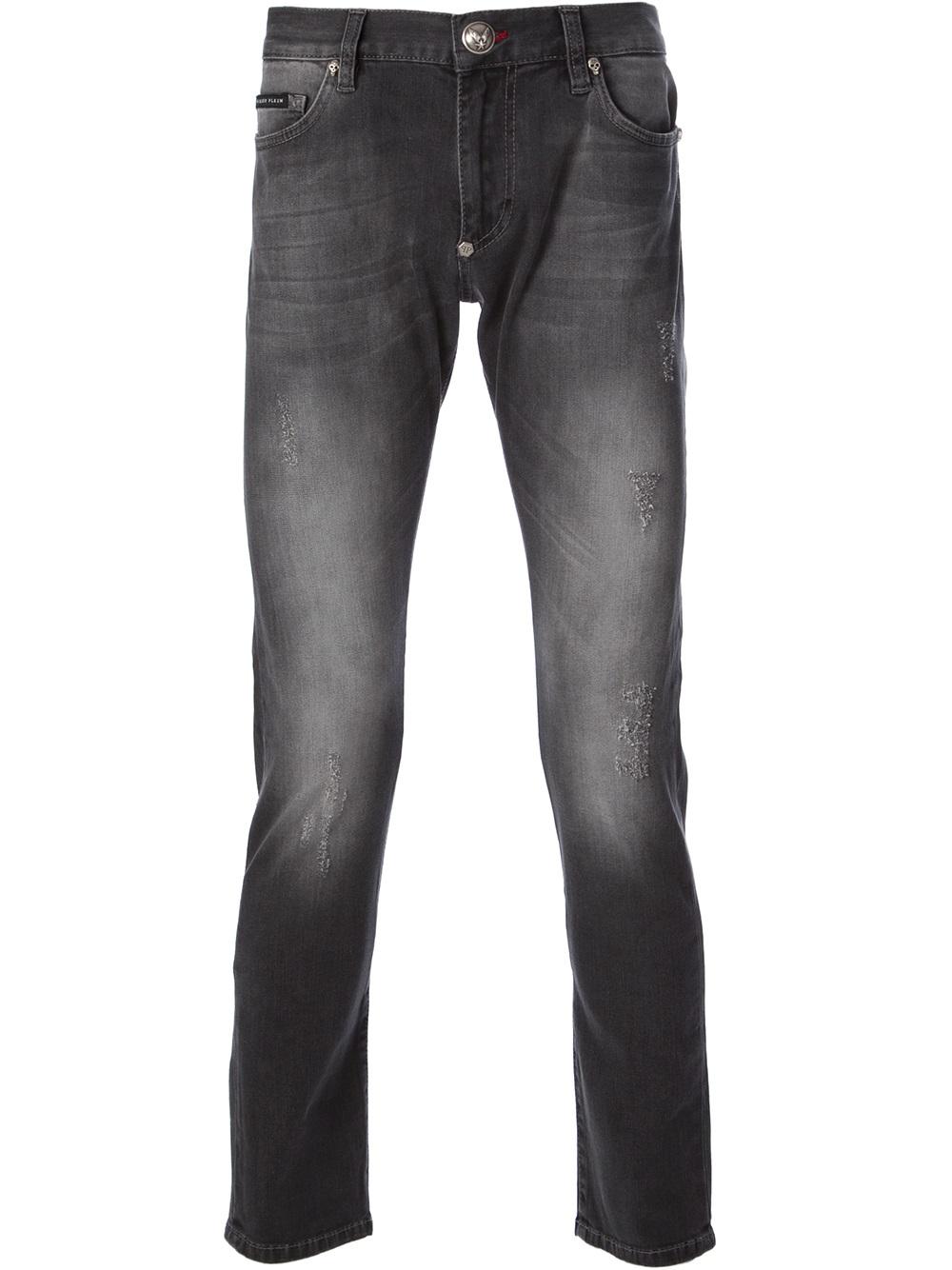 lyst philipp plein denim jeans in gray for men. Black Bedroom Furniture Sets. Home Design Ideas