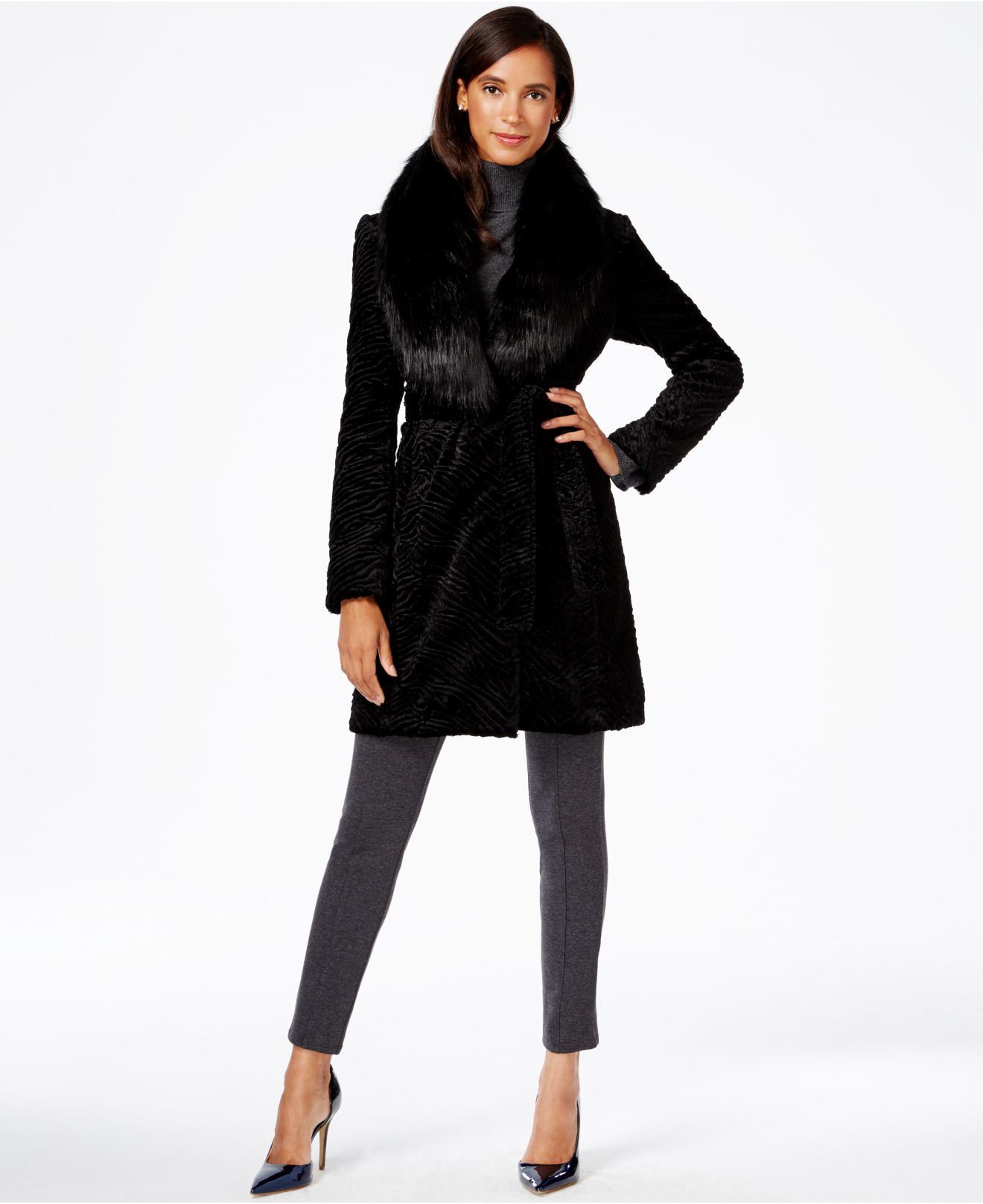 Ivanka trump Faux-fur-trim Textured Walker Coat in Black | Lyst