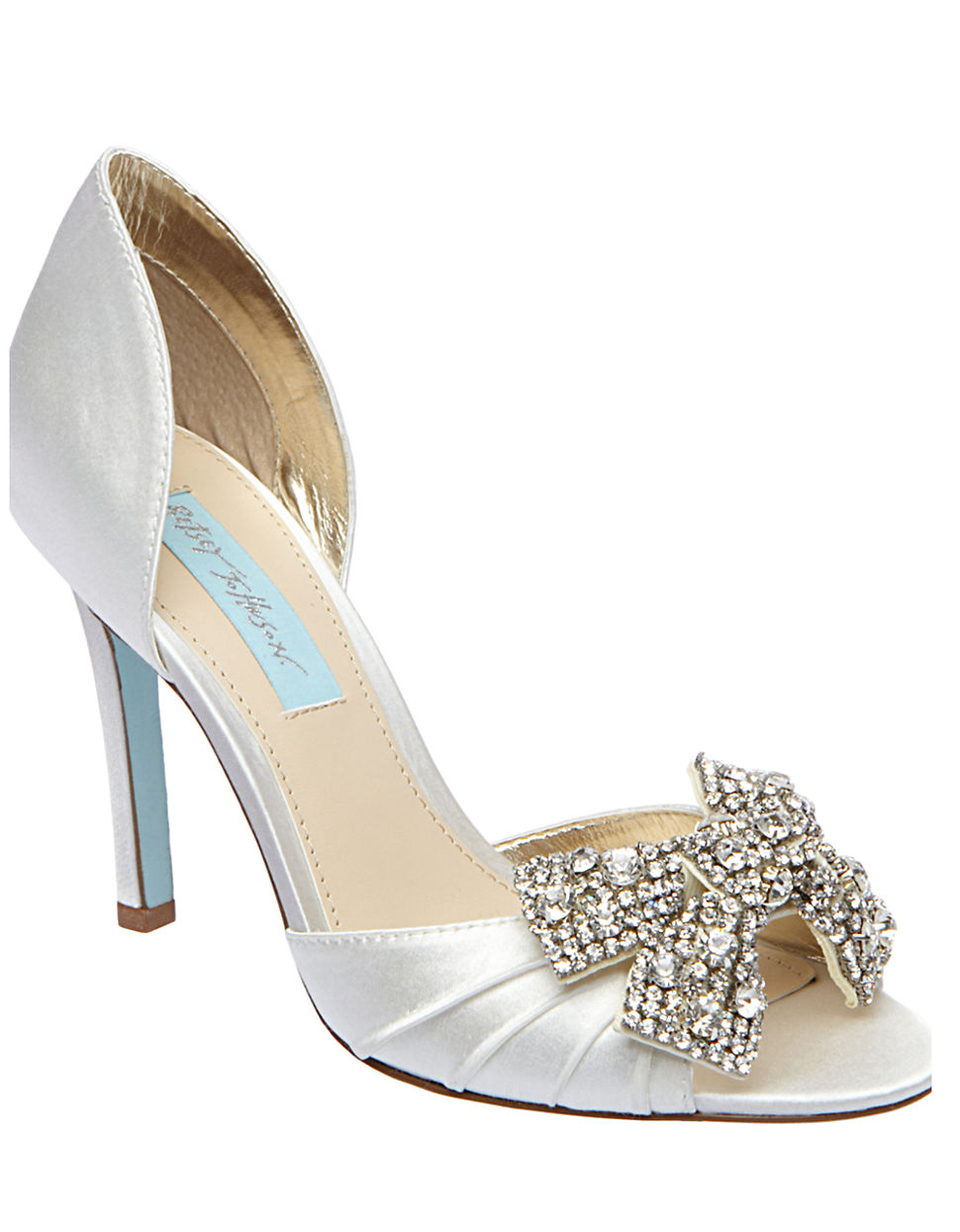 Lyst Betsey Johnson Gown Satin Pumps In Metallic