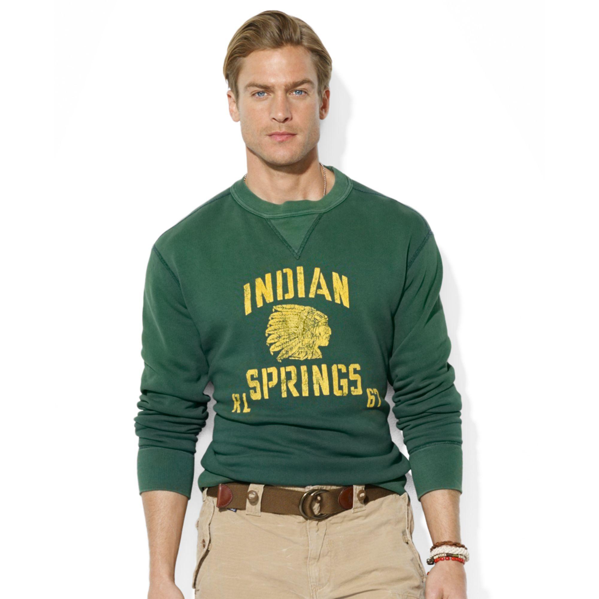 1c344743f Ralph lauren Polo Weathered Fleece Sweatshirt in Green for Men | Lyst