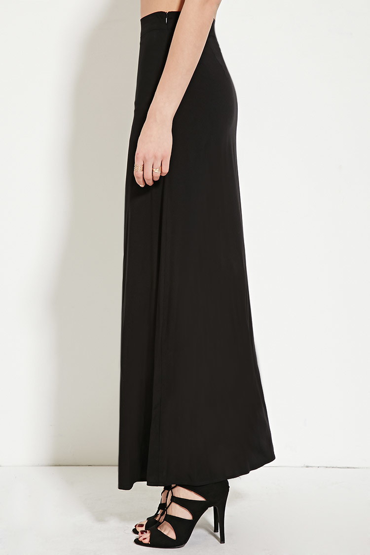 forever 21 high slit maxi skirt in black lyst