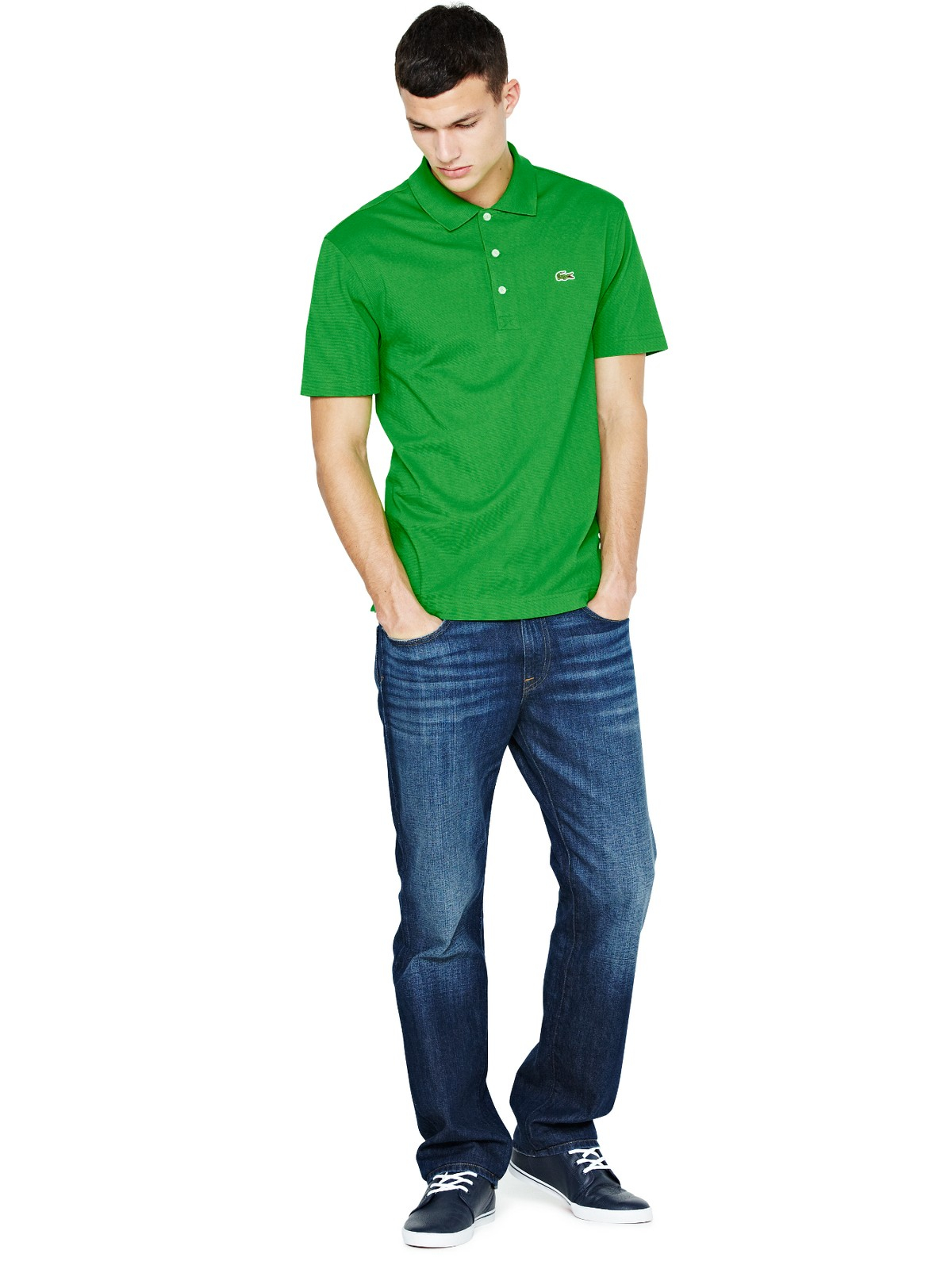 lacoste lacoste mens sleeve polo shirt meadow green